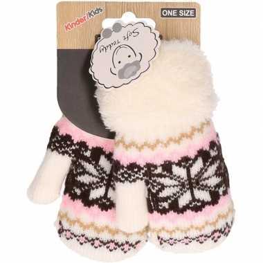 Goedkope wit/roze/bruin gebreide handschoenen met noorse print voor peuters