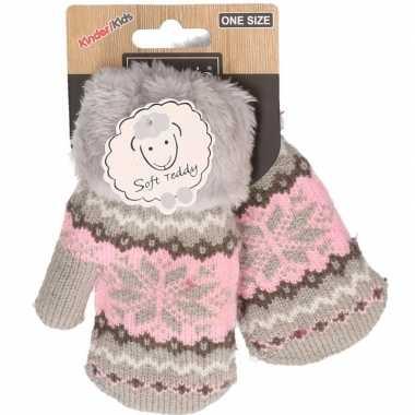 Goedkope wit/roze gebreide handschoenen met noorse print voor peuters