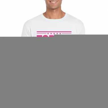Goedkope wit t shirt heren met tekst topper in het roze