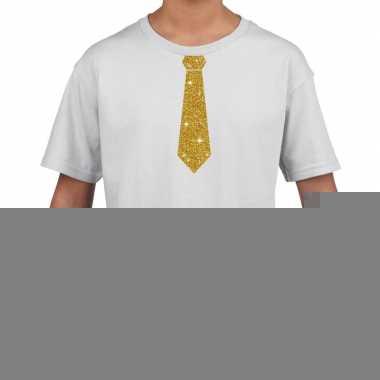 Goedkope wit t shirt met gouden stropdas voor kinderen