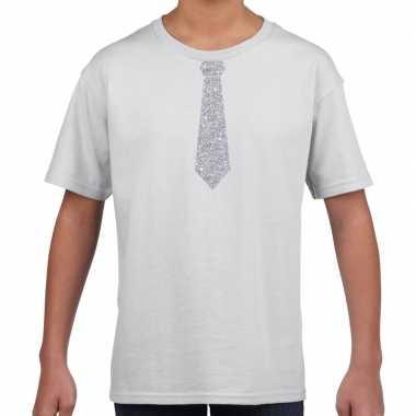 Goedkope wit t shirt met zilveren stropdas voor kinderen