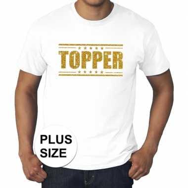 Goedkope wit topper grote maten t shirt gouden glitter letters heren