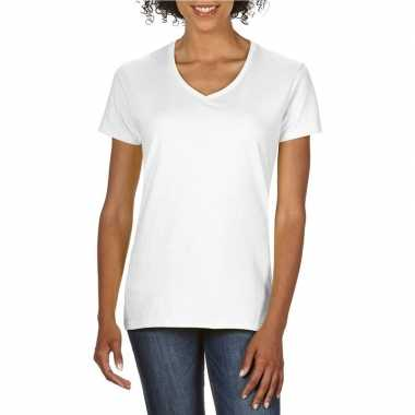 Goedkope witte dames casual t shirts met v hals