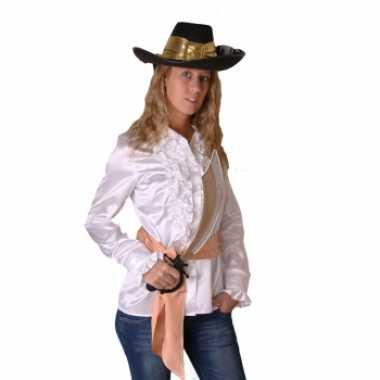 Goedkope witte dames piraten overhemd