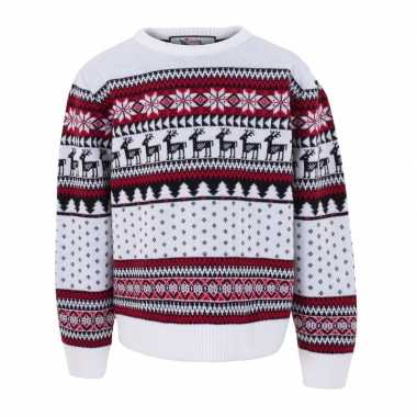 Goedkope witte kersttrui voor kinderen nordic print