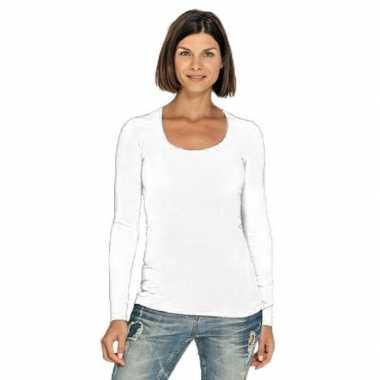 Goedkope witte longsleeve shirt met ronde hals voor dames