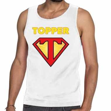 Goedkope witte tanktop / mouwloos shirt super topper heren