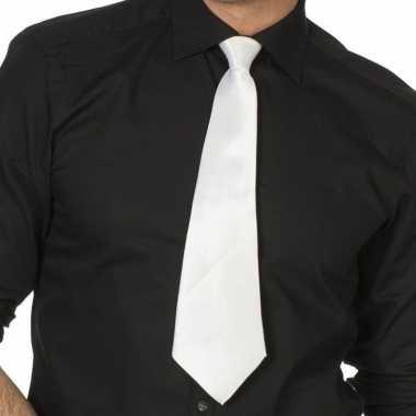 Goedkope witte verkleed stropdassen 41 cm voor dames heren 10159774