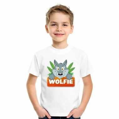 Goedkope wolven dieren t shirt wit voor kinderen