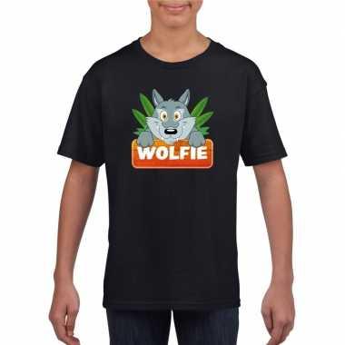 Goedkope wolven dieren t shirt zwart voor kinderen