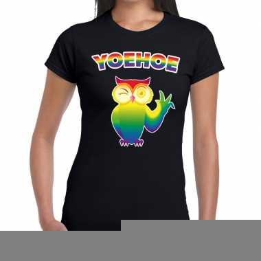 Goedkope yoehoe gay pride knipogende uil tekst/fun shirt zwart dames
