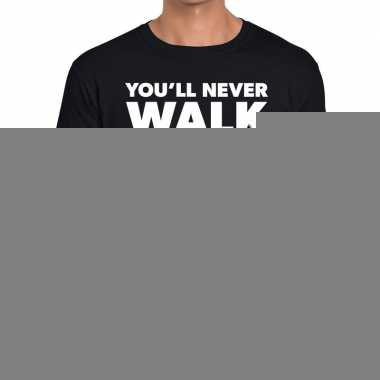 Goedkope you'll never walk alone fun tekst t shirt zwart voor heren