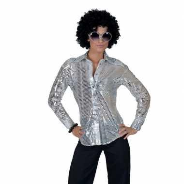 Goedkope zilveren disco jaren 70 overhemd voor dames