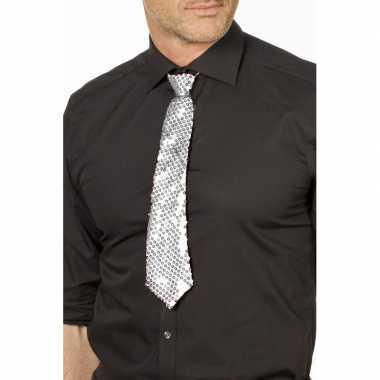 Goedkope zilveren glitter verkleed stropdassen 32 cm voor dames/heren