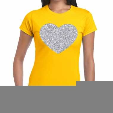 Goedkope zilveren hart glitter fun t shirt geel voor dames