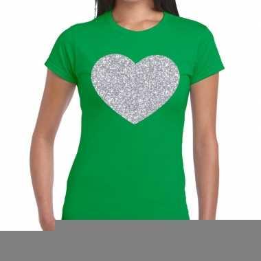 Goedkope zilveren hart glitter fun t shirt groen voor dames