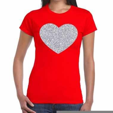 Goedkope zilveren hart glitter fun t shirt rood voor dames