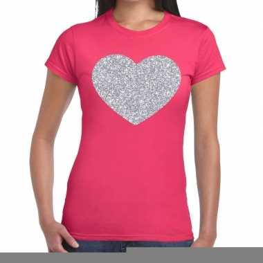 Goedkope zilveren hart glitter fun t shirt roze voor dames