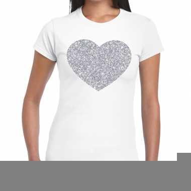 Goedkope zilveren hart glitter fun t shirt wit voor dames