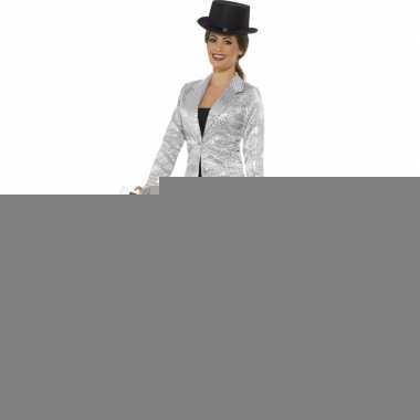 Goedkope zilveren pailletten circus jas voor dames