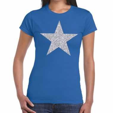 Goedkope zilveren ster glitter fun t shirt blauw voor dames