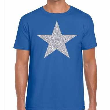 Goedkope zilveren ster glitter fun t shirt blauw voor heren