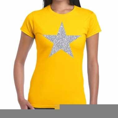 Goedkope zilveren ster glitter fun t shirt geel voor dames