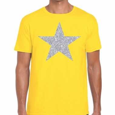 Goedkope zilveren ster glitter fun t shirt geel voor heren