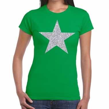 Goedkope zilveren ster glitter fun t shirt groen voor dames