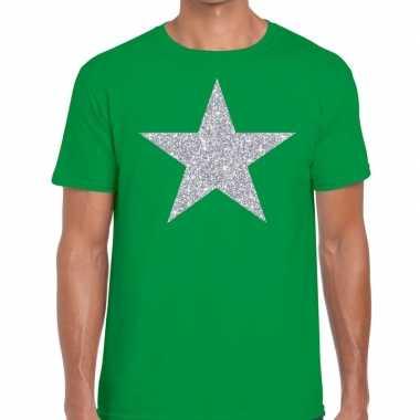 Goedkope zilveren ster glitter fun t shirt groen voor heren