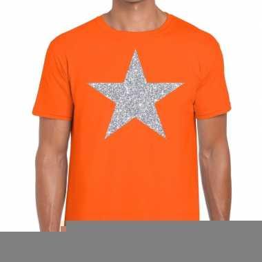 Goedkope zilveren ster glitter fun t shirt oranje voor heren