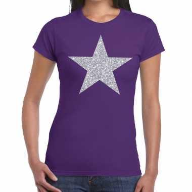 Goedkope zilveren ster glitter fun t shirt paars voor dames