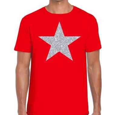 Goedkope zilveren ster glitter fun t shirt rood voor heren
