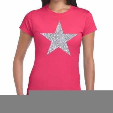Goedkope zilveren ster glitter fun t shirt roze voor dames