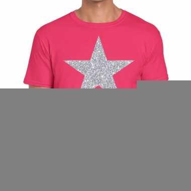 Goedkope zilveren ster glitter fun t shirt roze voor heren
