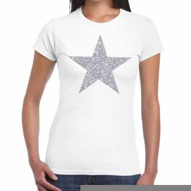 Goedkope zilveren ster glitter fun t shirt wit voor dames