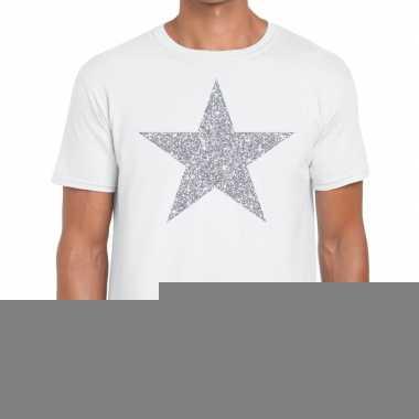 Goedkope zilveren ster glitter fun t shirt wit voor heren