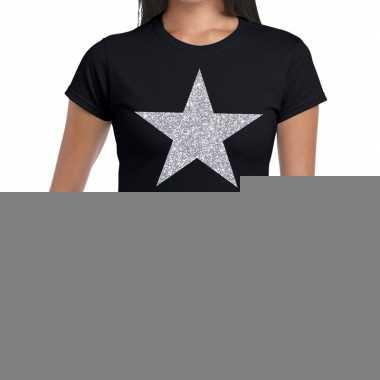 Goedkope zilveren ster glitter fun t shirt zwart voor dames
