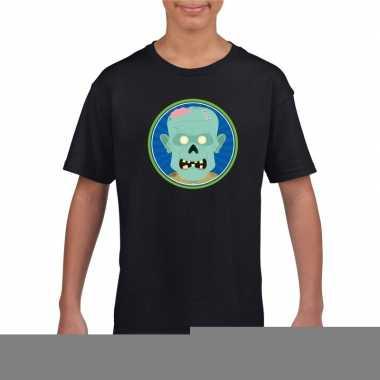 Goedkope zombie halloween t shirt zwart voor jongens en meisjes