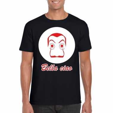 Goedkope zwart bankovervaller t shirt voor heren