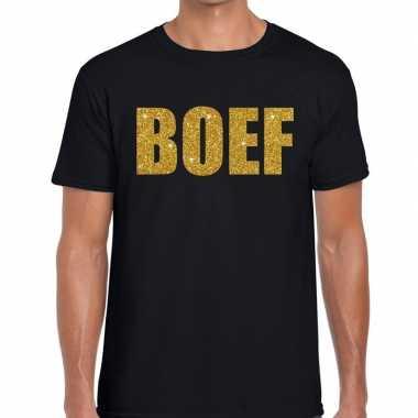 Goedkope zwart boef glitter goud fun t shirt voor heren