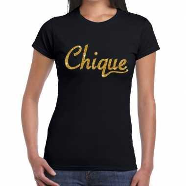 Goedkope zwart chique goud fun t shirt voor dames