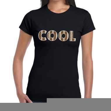 Goedkope zwart cool slangenprint fun t shirt voor dames