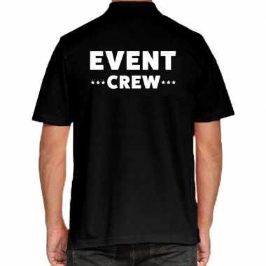 Goedkope zwart event crew polo t shirt voor heren