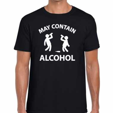Goedkope zwart fun shirt may contain alcohol voor heren