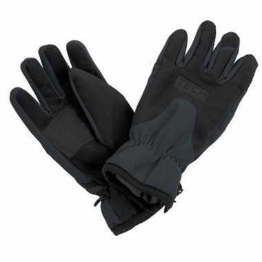 Goedkope zwart/grijze ski handschoenen voor volwassenen