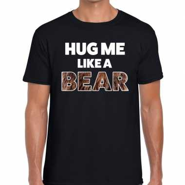 Goedkope zwart hug me like a bear fun t shirt voor heren