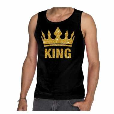 Goedkope zwart king gouden glitter kroon mouwloos shirt heren