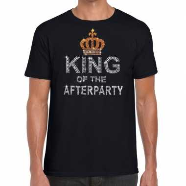 Goedkope zwart king of the afterparty glitter steentjes t shirt heren