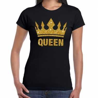 Goedkope zwart koningdag queen shirt met gouden glitters en kroon dam